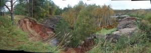 Уход воды при карстовом провале из озера Провал у кладбища села Мухтолово_снимок октябрь 2011